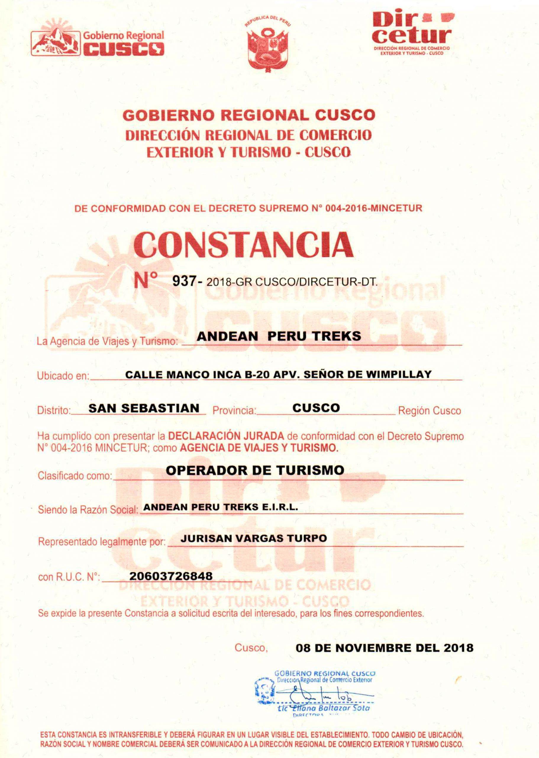 Contamcia de DIRECTUR Cusco